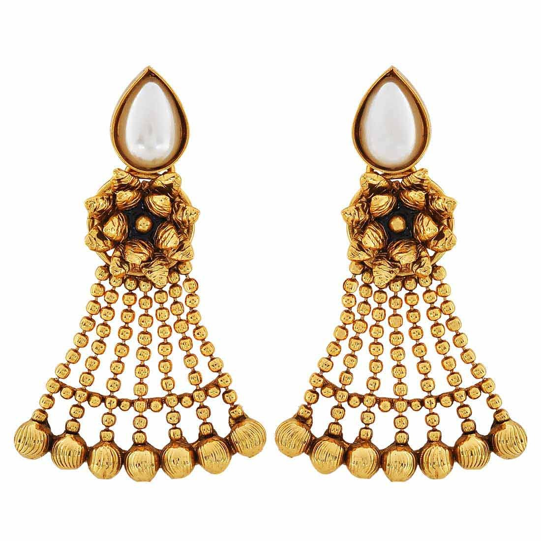 Maayra Wedding Festival Earrings Copper Dangler Drop White Black Indian Classic Jewellery