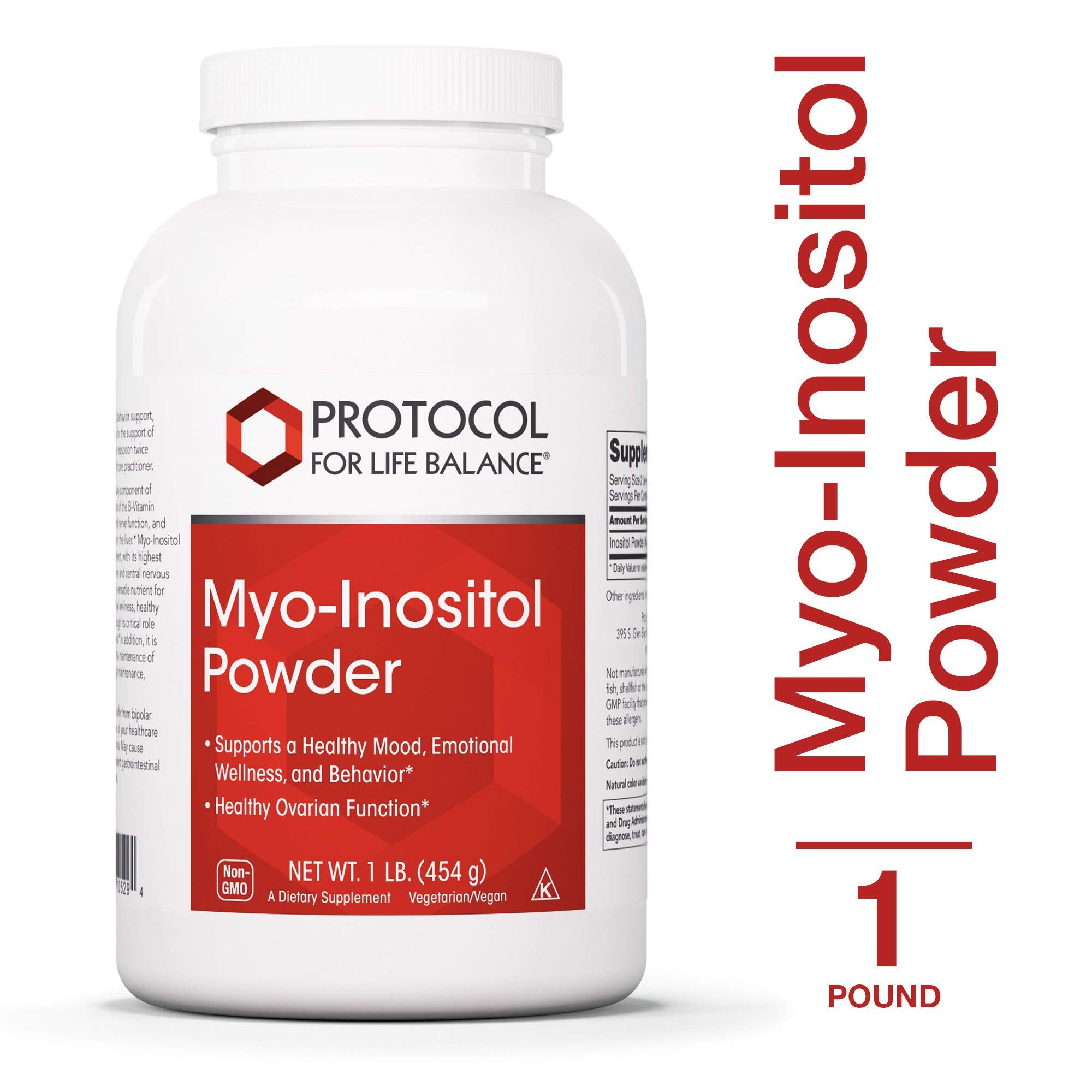 Protocol For Life Balance - Myo-Inositol Powder - Supports a Healthy Mood, Emotional Wellness, Behavior and Ovarian Function, Energy Boost, Sleep Support - 1lb. (454 g) by Protocol For Life Balance