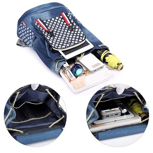 Amazon.com: Denim School Backpack for Teen Girls Kids Xuanber Cute Bookbag Elementary Middle Student Rucksack Slim Small Jeans Bag Purse Women Daypack ...