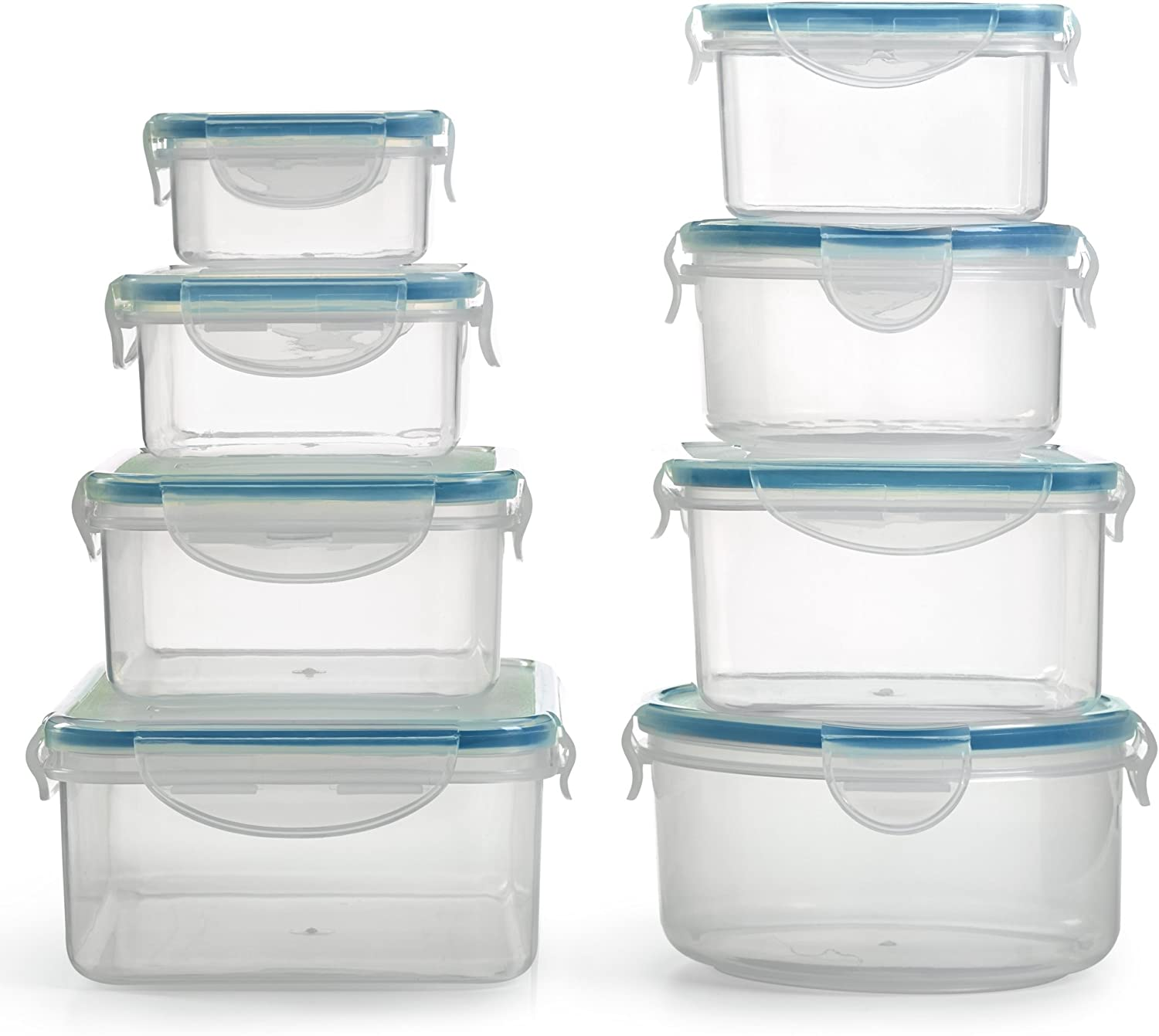 1790 Plastic Food Containers with Lids - 16 Piece, BPA Free, Locking Lids, Dishwasher Safe Freezer Safe, Airtight - Ideal for Home, Kitchen, Storage & Organization