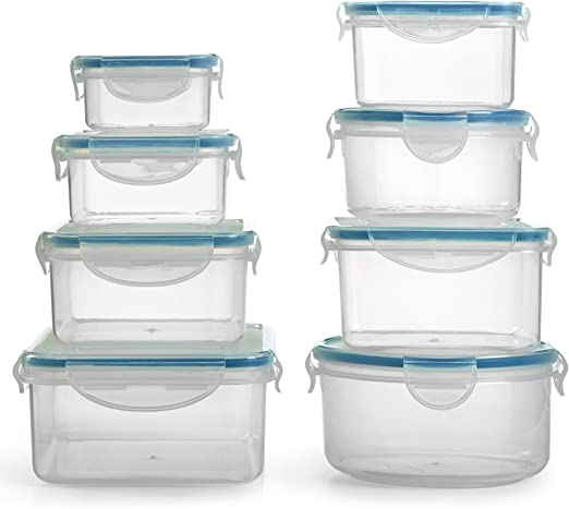 Amazon Com 1790 Plastic Food Containers With Lids 16 Piece Bpa