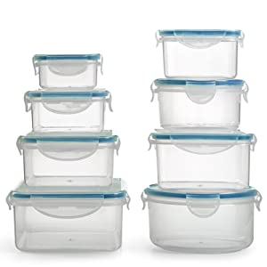 BPA Free Plastic Food Container Set with Locking Lids - Safe for Dishwasher and Freezer - Snap On Lids Keep Food Fresh with Airtight Seal - Home & Kitchen (16 Piece)