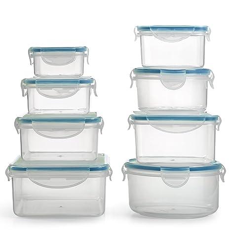 Amazon.com: BPA Free Plastic Food Container Set with Locking Lids ...