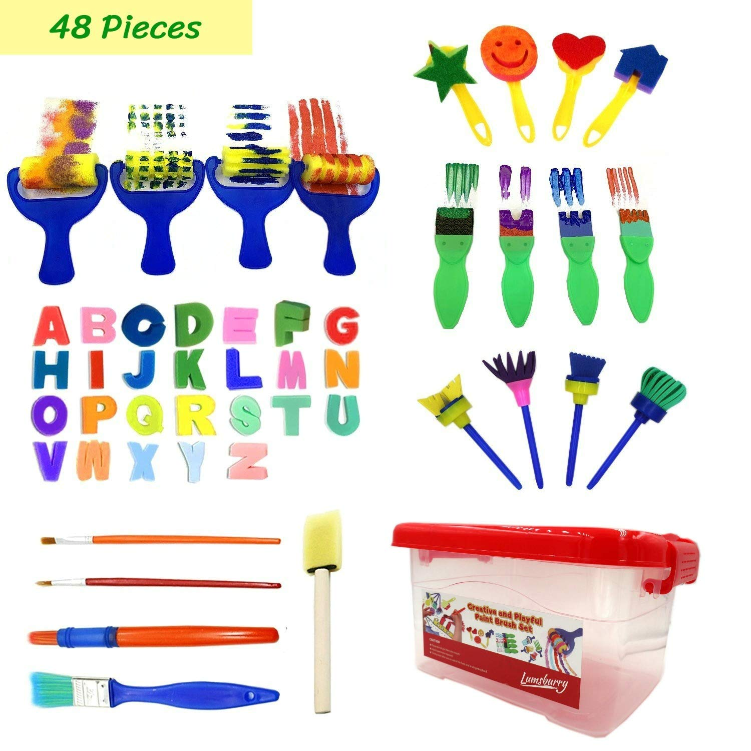 47pcs Kids Art and Craft Early Learning Painting Sponges Stamper Mini Paint Brushes Kit with 26 English Alphabets Drawing Tools (with Box) by Lumsburry