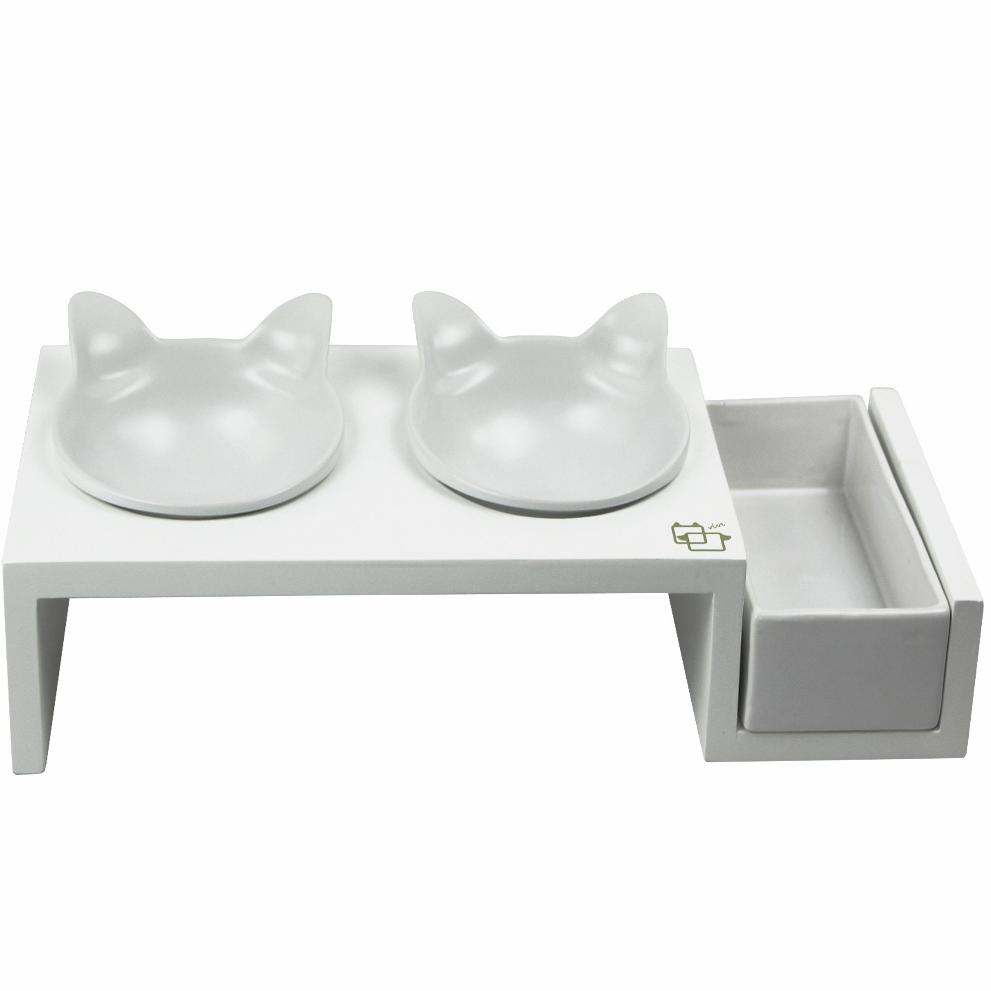ViviPet Cat Dining Table - Aoshima Collection ❤_15° Tilted Platform with Elevated Solid Pine Stand with Ceramic Hand Print and Craft Bowls_❤ (Pearl White Kitty Bowls, White Stand)