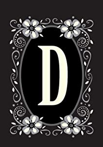 Toland Home Garden Classic Monogram D 28 x 40 Inch Decorative Flower Initial House Flag