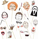 22 Pcs Halloween Photo Booth Props Sign Kit - Spooky Skull Mask Death Day Fiesta Décor - Autumn Fall Friday 13th…