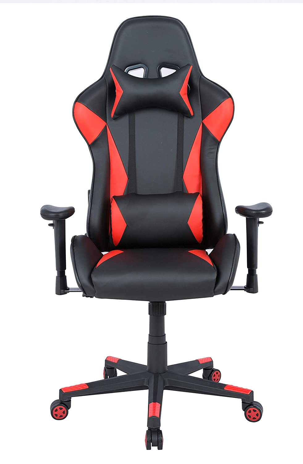 AmazonBasics Gaming Chair - Racing Style Seat with Headrest and Firm Lumbar Support, Easy Assembly - Red