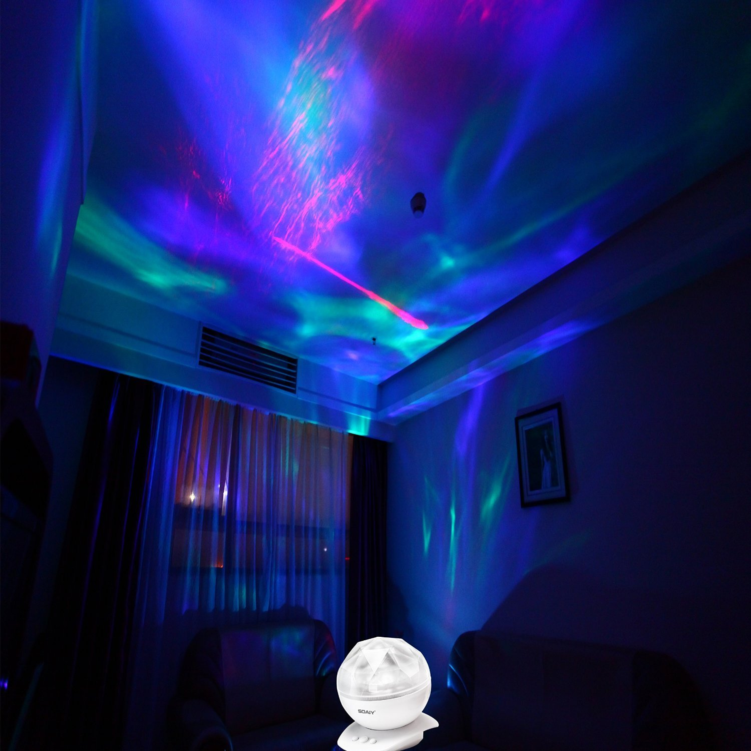 Bedroom ceiling lights stars - Soaiy Rotation Sleep Soothing Color Changing Aurora Night Light Projector With Build In Speaker Relaxing Light Show Mood Light For Baby Nursery