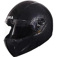 Steelbird SB-41 Oscar Classic Oska Flip Up Helmet (620MM XLarge, Classic Black With Smoke Visor)