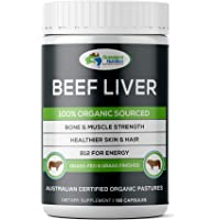 Grassland Nutrition Grass Fed Beef Liver 100% Organic Sourced — Natural B12 for energy, Iron & Vitamin A (180 Capsules)