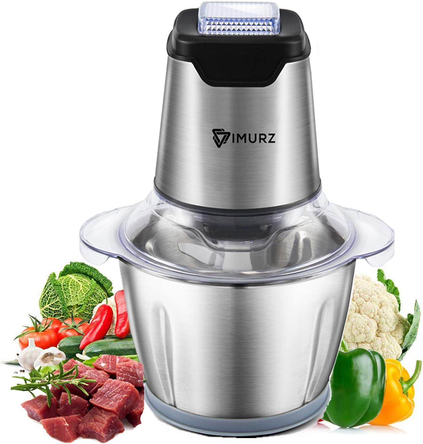 Picadora Electrica de Alimentos, 600W mini Procesador de alimentos, 4 Bi-Level Cuchillas, 1.2L Acero inoxidable cuenco, Picadora de Carne para Carne, Verduras, Frutas, Cebolla y Nueces, Baby food