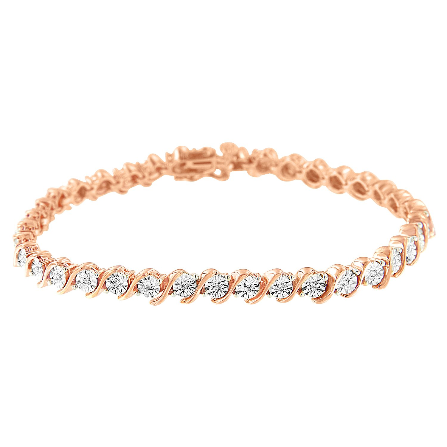 2 Micron 14k Rose Plated Sterling Silver Diamond Tennis Bracelet (0.25 cttw, H-I Color, I2-I3 Clarity) by Original Classics