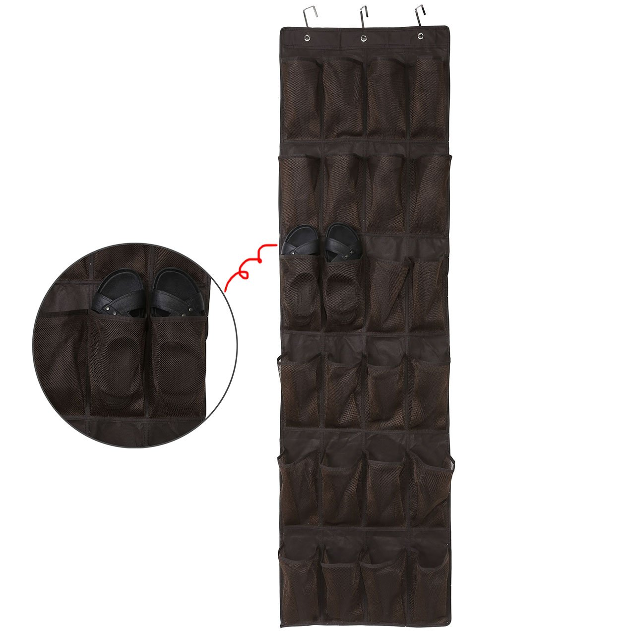 CozyCabin Over the Door Shoe Organizer - 24 Breathable Pockets, Closet Wall Hanging Shoe Storage with 3 Hooks (Brown)