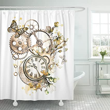 Amazon Emvency Shower Curtain Steam Punk Watercolor With
