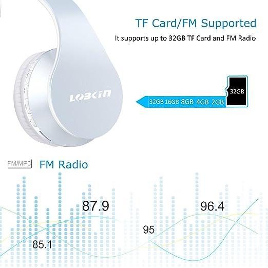 Lobkin Auriculares Bluetooth sobre la oreja, auriculares plegables con suaves almohadillas, micrófono integrado y auriculares con cable: Amazon.es: ...