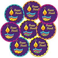 weRevel Diwali Party Stickers, Diya Theme, 40 Pieces, 2 inches, Round, 4 Unique Designs Ideal for Gift Wrapping, Party…