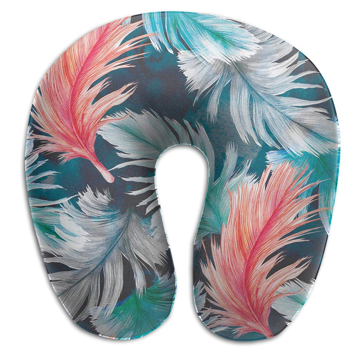 Vidmkeo Neck Pillow Feathers Pattern Travel U-Shaped Pillow Soft Memory Neck Support for Train Airplane Sleeping Unisex11