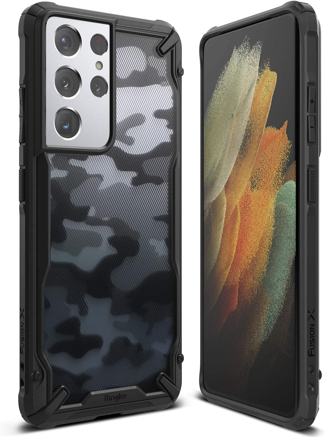 Funda Ringke Fusion-x Para Galaxy S21 Ultra 5g-Camuflada