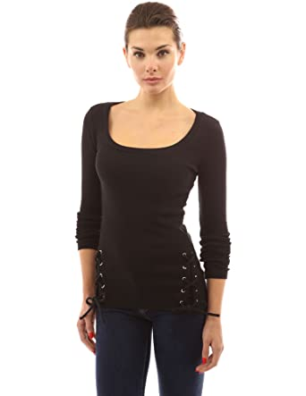 PattyBoutik Damen U-Ausschnitt Gerippter Top mit Schnüren an Seiten und  Langen Ärmeln (schwarz 7994cbbb59