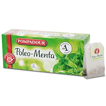 Refreshing Tea, POMPADOUR Pure Peppermint Energize Herbal Tea Bags Premium Caffeine-Free Minty Metabolism