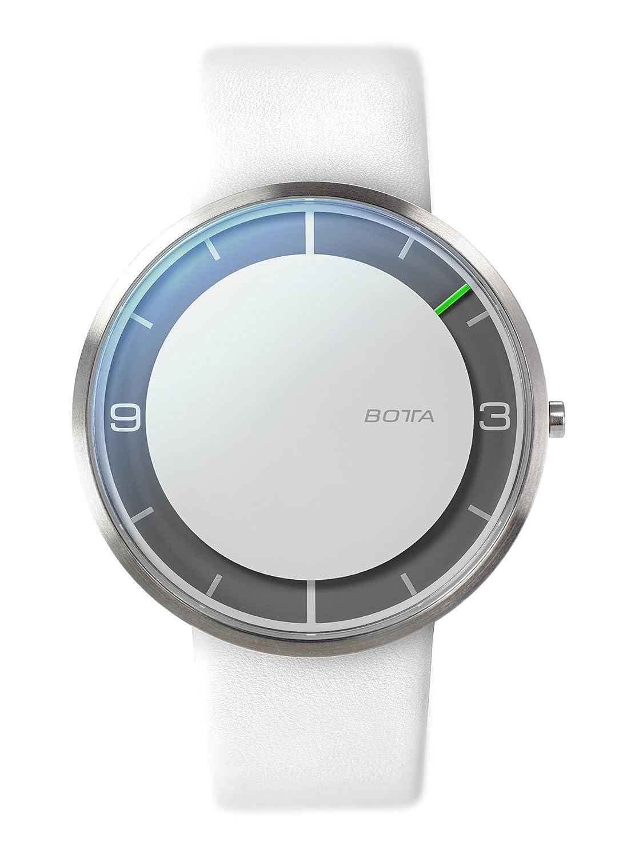 Botta-Design NOVA+ Armbanduhr - Einzeigeruhr - Edelstahl - weißes Zifferblatt - Lederband