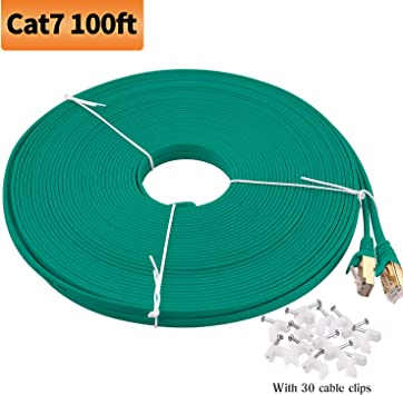 Computer Internet Cable with Clips Rj45 High Speed Network Cable Faster Than Cat6//Cat5e//Cat5 Cat7 Shielded STP Viodo Cat 7 Ethernet Cable,Flat Internet LAN Cable Cords