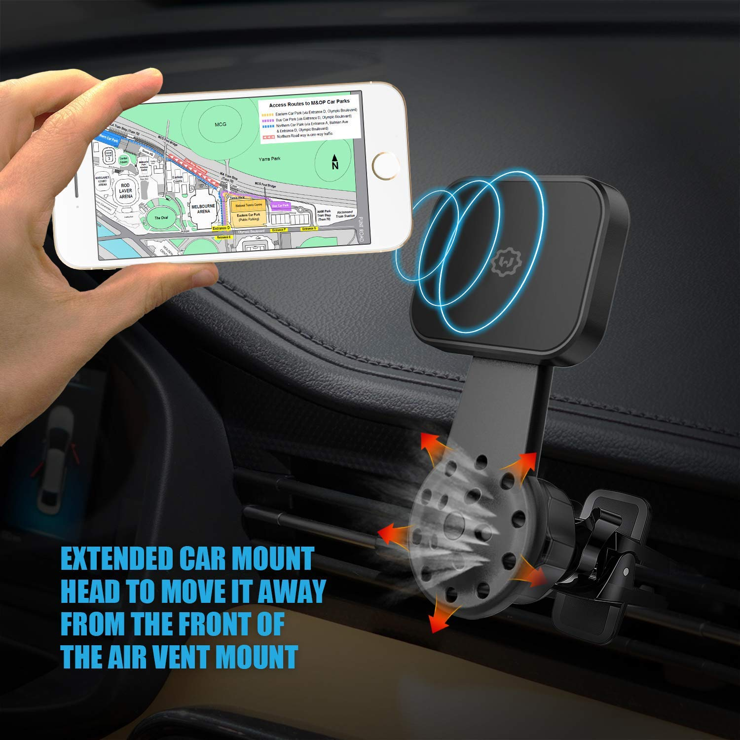 WixGear Universal Air Vent Twist Hole Magnetic Phone Holder for Car for Vertical and Horizontal Vent for All Cell Phones with Fast Swift-Snap Technology Will Not Block Air Vent Flow