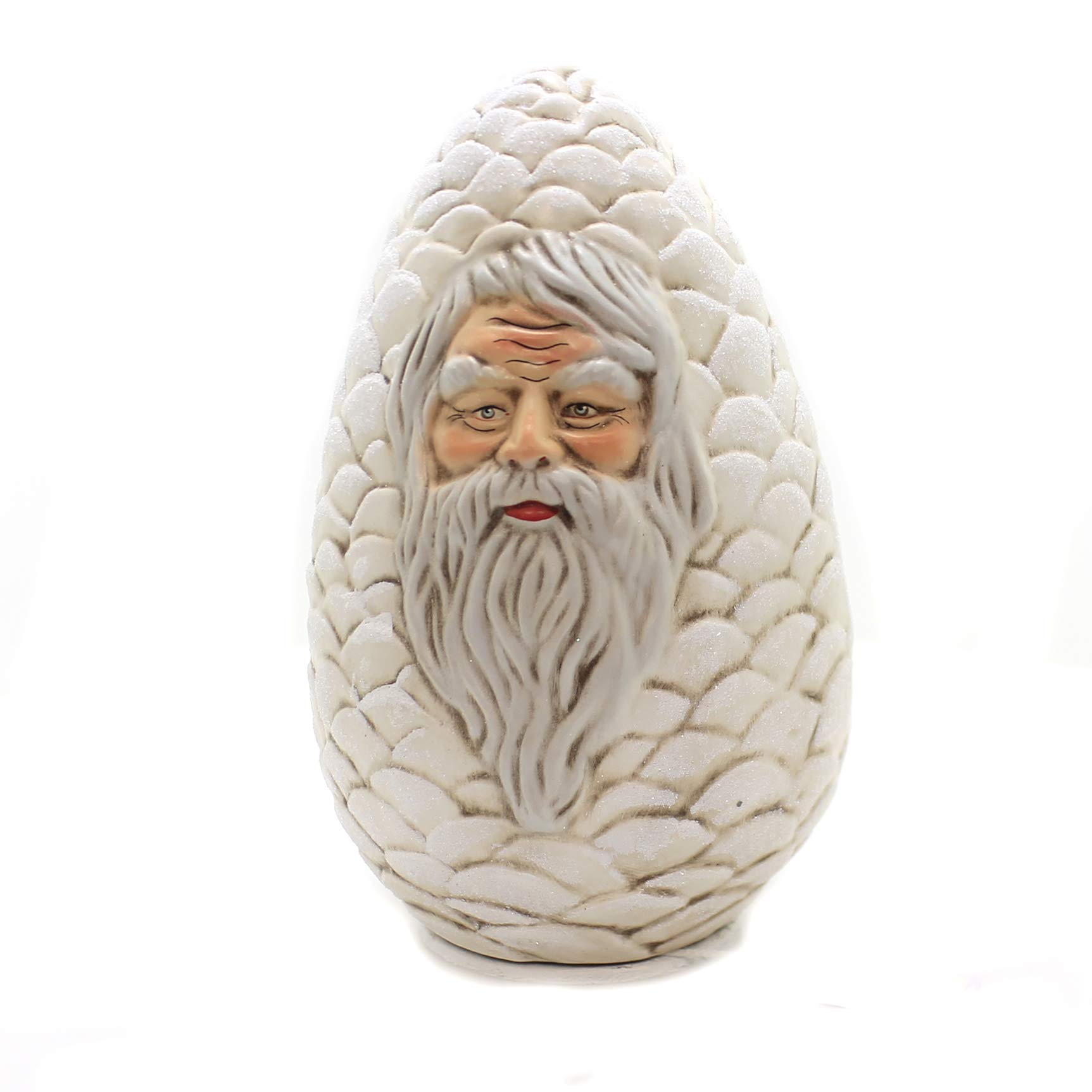 Marolin White Pinecone w/FACE Paper Mache Candy Container Santa 648W