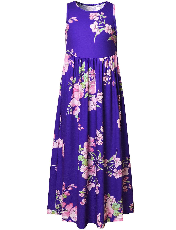 Perfashion Summer Flower Girl Long Dress Crew-Neck Casual Beach Holiday
