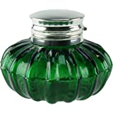 Antique Vintage Reproduction Silver Top Dark Green Glass Inkwell