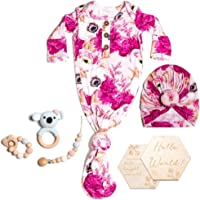 Fluf Newborn Baby Girl Knotted Gown Gift Set Hamper, Floral Pink, Bamboo, Includes 6 Items, 0-3 Months