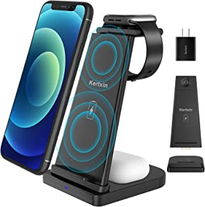 Detachable 3 in 1 Wireless Charger Stand,Kertxin Qi-certificated Wireless Charging Station for Apple Watch 6/5/4/3/2,Airpods Pro,iPhone 12/11/11 Pro Max/XR/XS Max/Xs/X/8P/8,Samsung S20/ Note 10/S9/S8