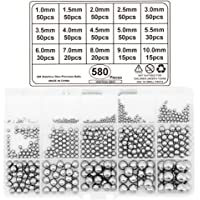 Yuhtech 580 st lagerbollar i 15 storlekar i rostfritt stål, precisionsbollar 1 mm – 10 mm för cykelhjul, skateboardlager