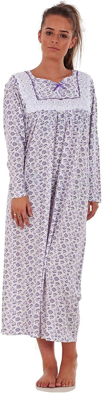Bay eCom UK Women Nightwear Floral Print 100/% Cotton Long Sleeve Long Nightdress M to XXXL