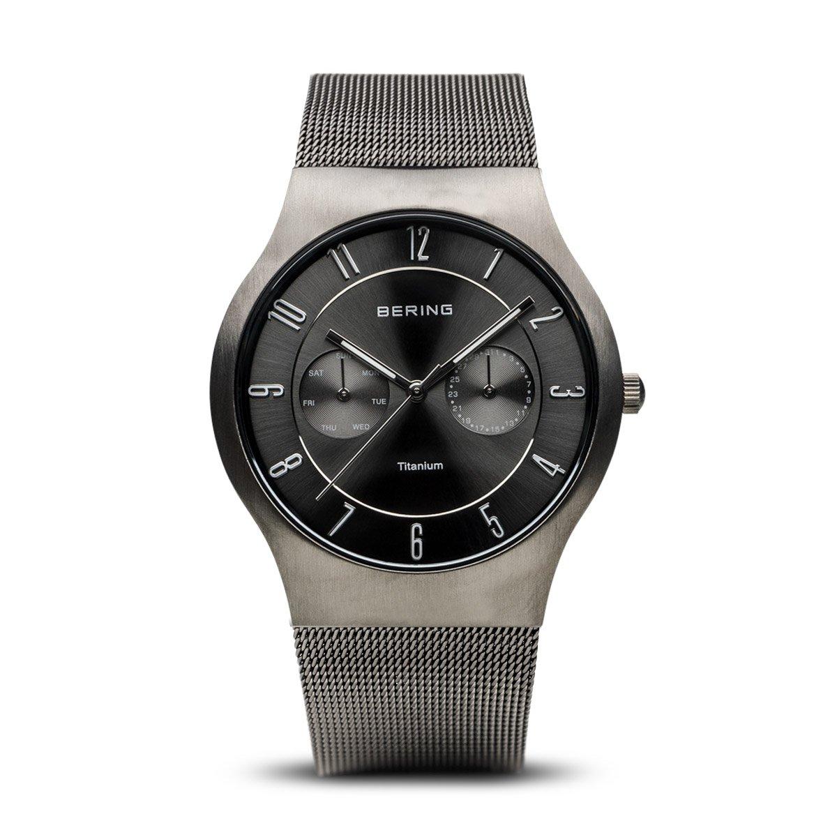 Bering Classic - Reloj analógico de caballero de cuarzo con correa de acero inoxidable gris - sumergible a 50 metros
