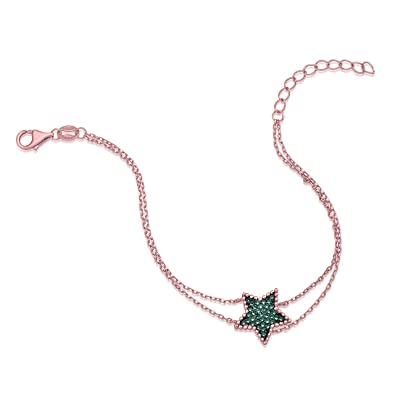 7412162b36ea1 Amazon.com: MASSETE Sterling Silver 925 Rose Gold Plated Star Beaded ...