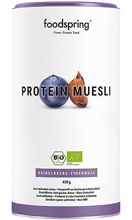 foodspring Muesli Proteico, 420g, Arándanos-Chufas, Muesli proteico con finos copos de