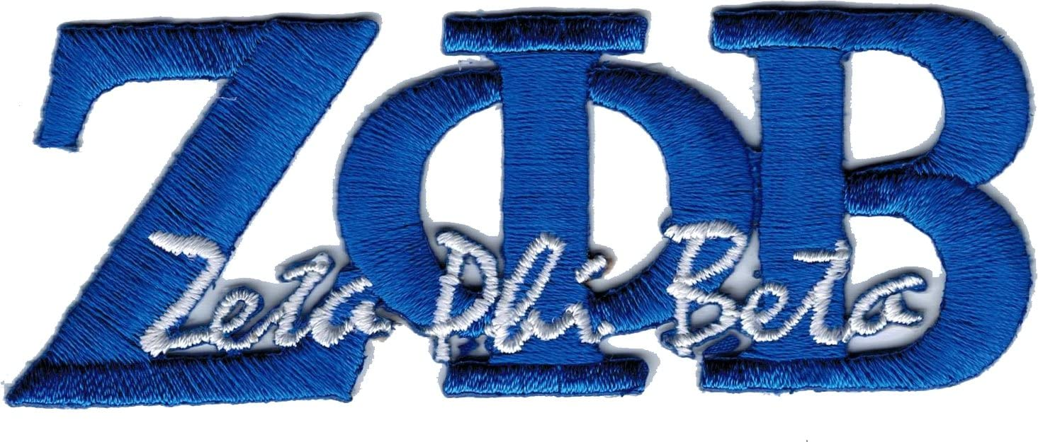 """Pack of 2 - Blue - 2.125/""""... Zeta Phi Beta Crest Thin Woven Label Iron-On Patch"""
