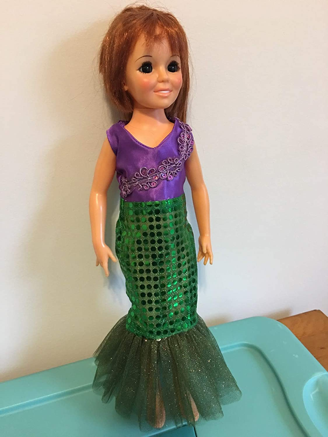 Fits 18 Ideal Crissy Doll Clothes Holiday Dress Princess Mermaid Dress Sparkly Handmade Costume NO DOLL