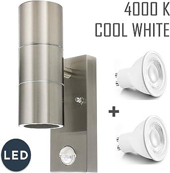 Outdoor Sensor IP44 Up /& Down Steel Double Outdoor Wall Light