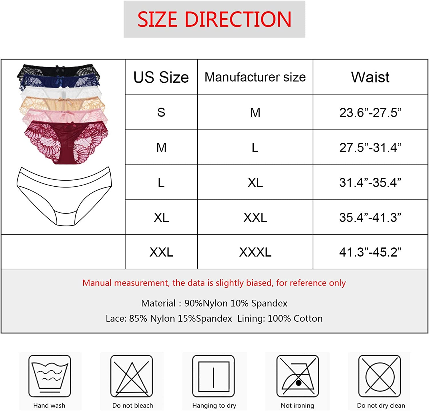 DRESHOW 6 Pack Women/'s Lace Underwear Bikini Panties Seamless Soft Briefs Underpants Lace Hipster for Women