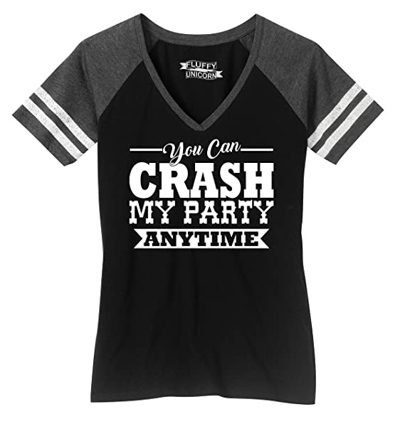 b5d38740478a97 Ladies Game V-Neck Tee Crash My Party Anytime Shirt Country Song Concert  Music Black