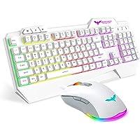 Havit Rainbow Backlit Wired Gaming Keyboard Mouse Combo, LED 104 Keys USB Ergonomic Wrist Rest Keyboard, 4800DPI 6…