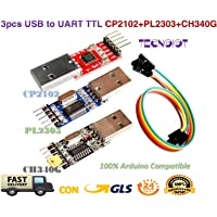 TECNOIOT 3pcs USB to TTL Module 1pc PL2303 + 1pc CP2102 + 1pc CH340G USB UART Module   Adaptador Serie USB a TTL módulo: 1pc con chipset CP2102 + 1pc con chipset PL2303 + 1pc con chipset CH340G