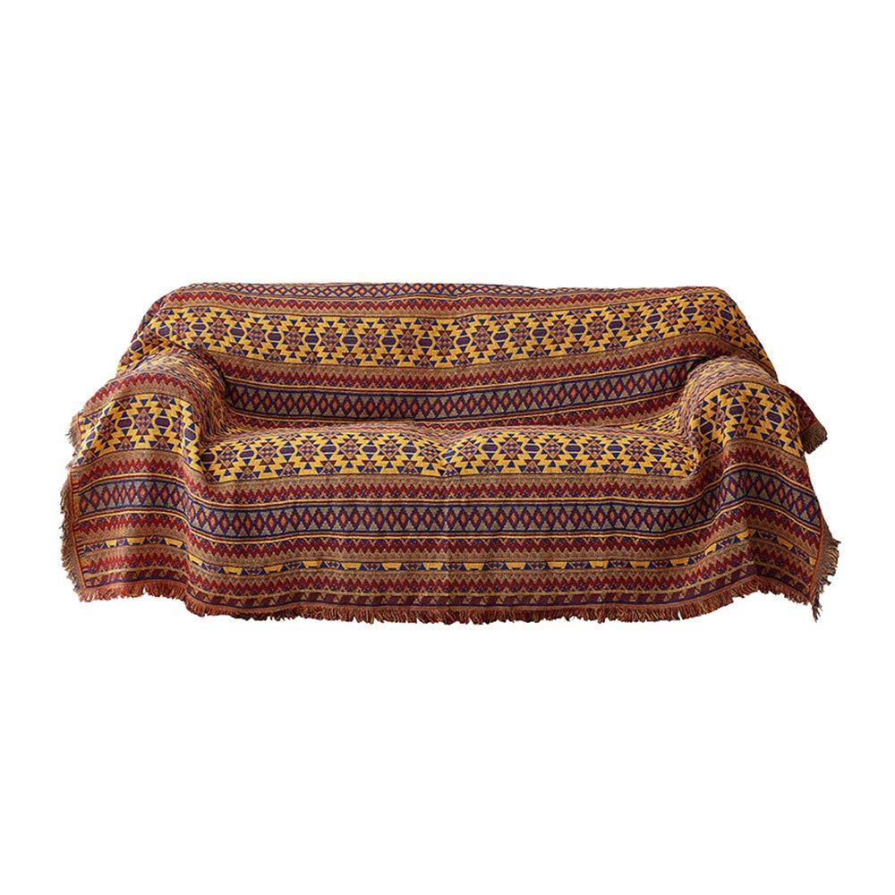 SEEKSUNG Sofa Decke, Sofaabdeckung Multifunktional, Ethno-Stil Sofakissen, Doppelseitiges Sofa Rutschfesten Handtuch Slipcover,M