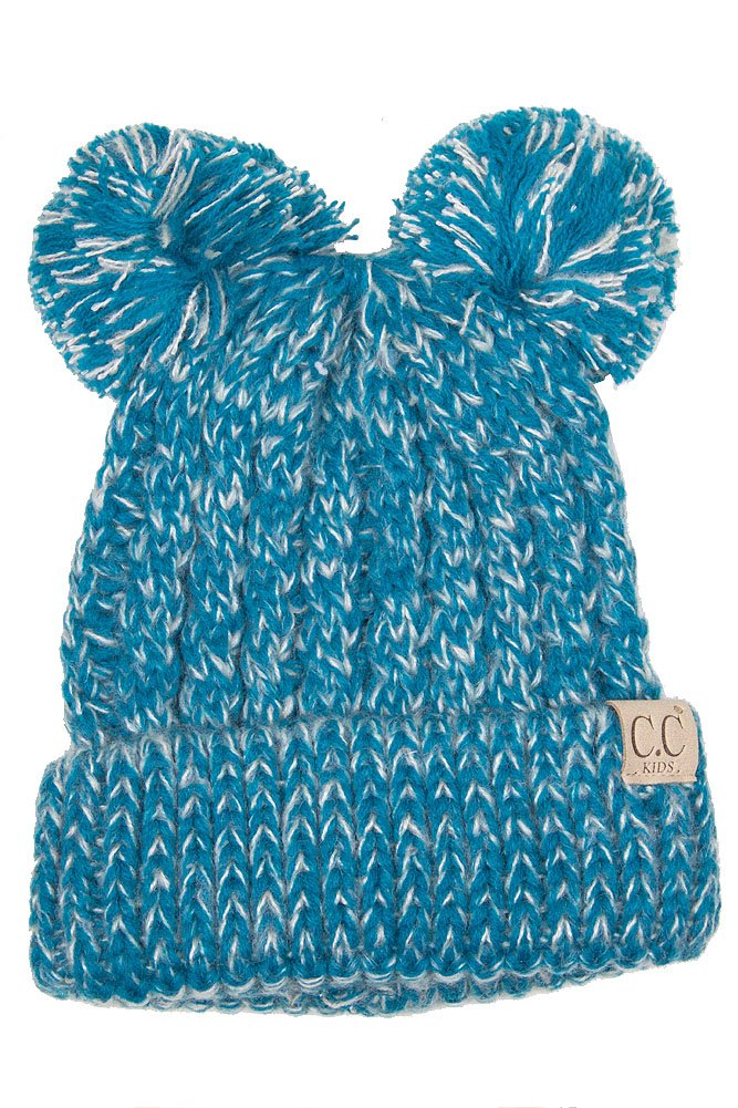 ScarvesMe CC Children Kids Girl Boy Ages 2-7 Two Tone Knitted Chunky Thick Stretchy Solid Color Pom Pom Beanie by ScarvesMe (Image #1)