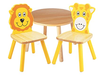 Pintoy Wooden Childrens Furniture Set Round Table with Lion ...