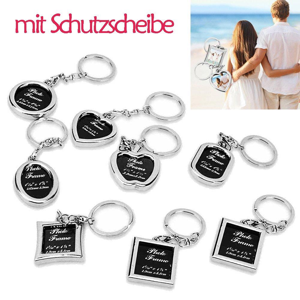 Foto Schlüsselanhänger Set - Schutzscheibe inklusive 8 Stück Glitzer ...
