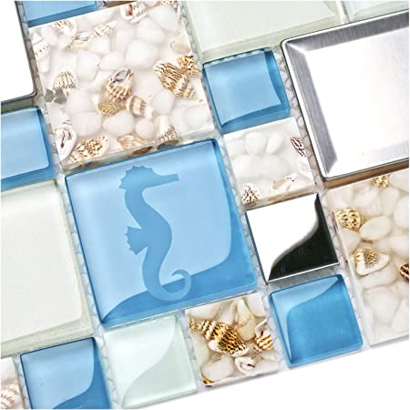New Idea Tile Kitchen Bath Backsplash Accent Wall Decor TST Glass Metal  Tile Marine Animals Icon Beach Style Inner Conch Sea Blue Mosaic Tiles  TSTNB11 ...